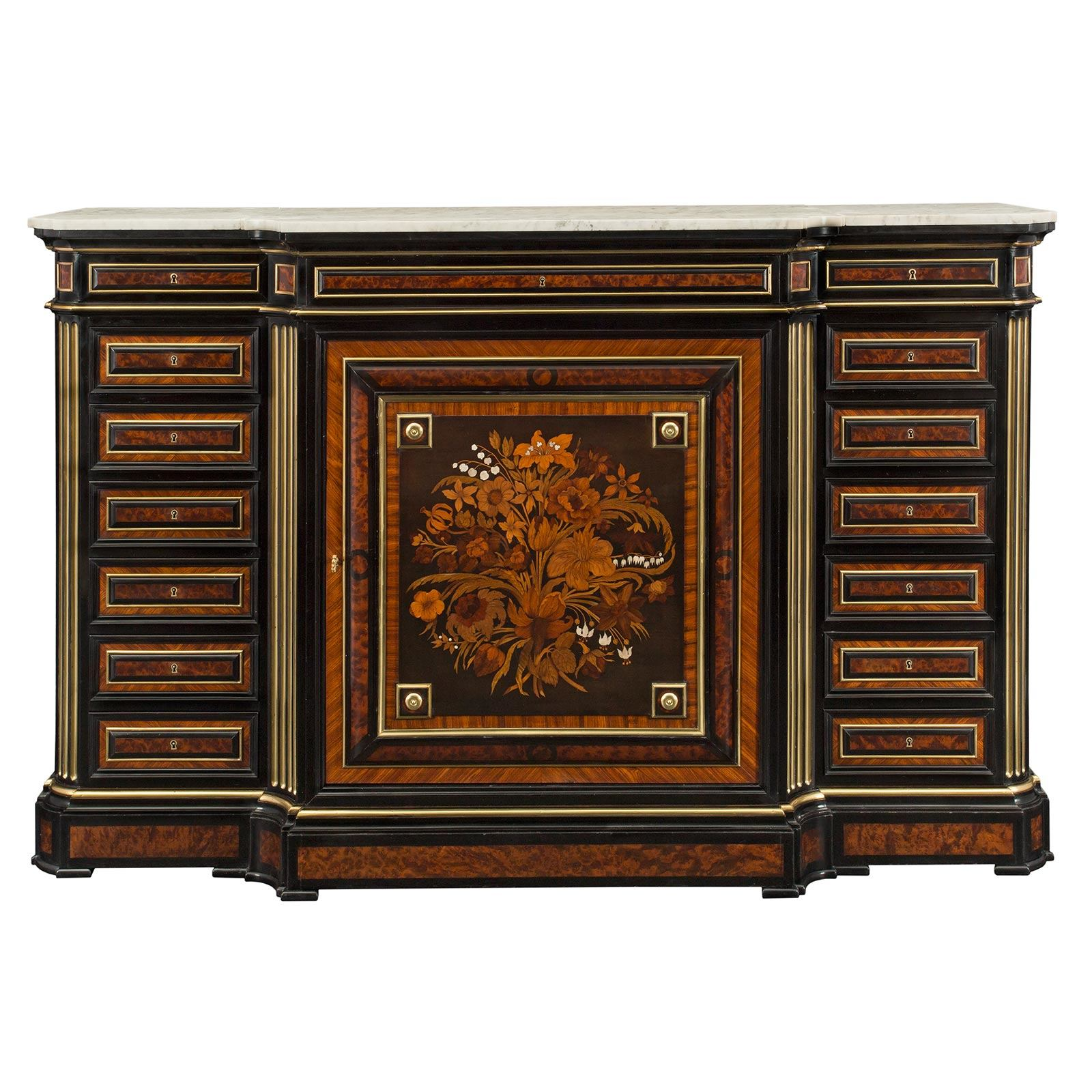 A Spectacular And Most Decorative Italian Louis XIV Period Giltwood And  Marble Top Center Table